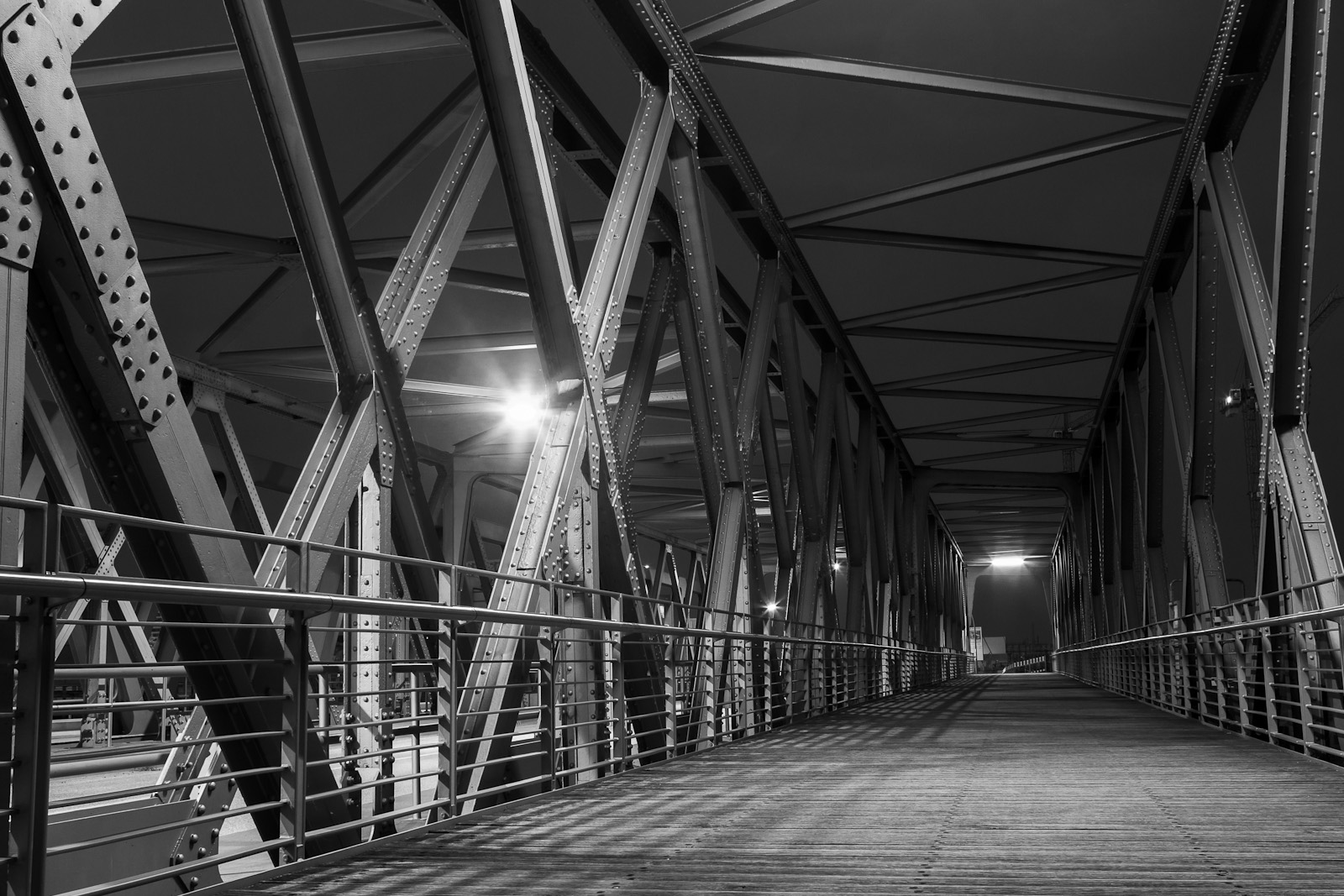 Steel Frame Bridge At Night
